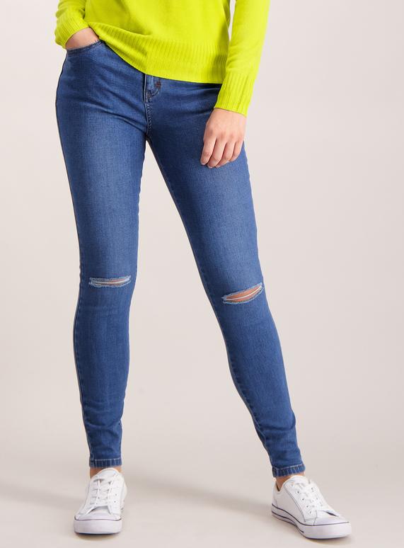 Online Exclusive Mid Wash Denim Ripped Knee Skinny Jeans