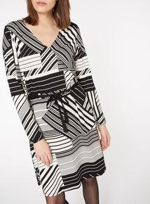 Monochrome Cutout Stripe Dress