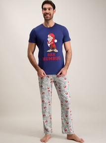 Disney 'Grumpy' Navy & Grey Humbug Pyjamas