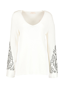 Premium Cream Embroidered Sleeve V-Neck Jumper