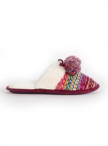 Multicoloured Knitted Pom Pom Mule Slipper