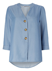 Chambray Button Effect Blouse