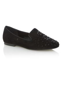 Black Gem Embellished Loafers