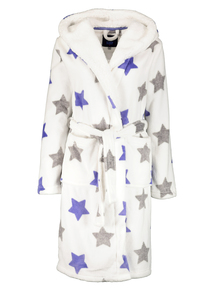 Cream Star Print Fleece Dressing Gown