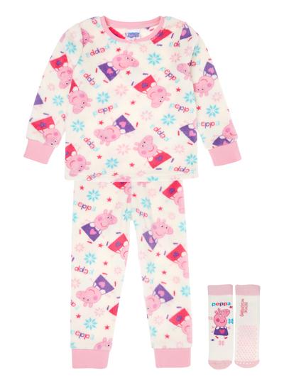 Kids Girls Cream Peppa Fleece Pyjamas with Socks (1-5 years)  0add506cc
