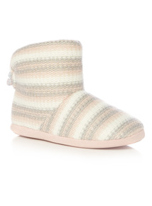 Pink Stripe Knitted Flower Trim Boot