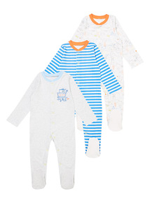 Boys Blue Sleepsuits 3 Pack (0-24 months)