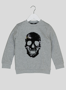 Halloween Grey Sequin Skull Sweatshirt (3-14 years)