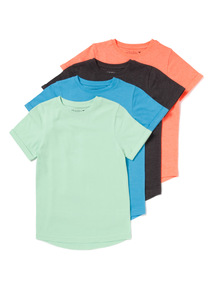 4 Pack Multicoloured Plain T-shirts (3-14 years)