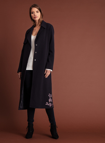 Online Exclusive Premium Navy Embroidered Trench Coat