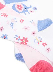 4 Pack Pink Floral Elephant Socks (1-24 Months)