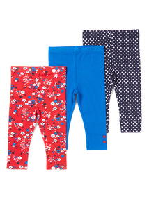 3 Pack Assorted Plain and Printed Leggings (0-24 months)