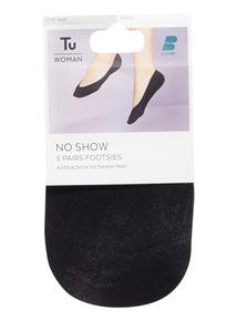 5 Pack Black No Show Footsies