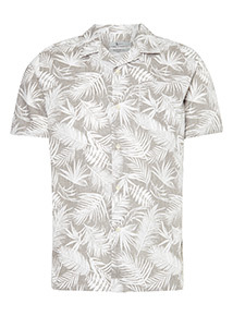 Regular Fit Leaf Print Revere Collar Shirt