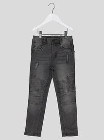 Grey Skinny Stretch Biker Jeans (3-12 years)