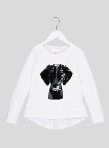 White Sequin Dog Long Sleeved Top (3-12 years)