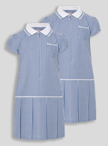 2 Pack Navy Sporty Gingham Dresses (3-12 years)