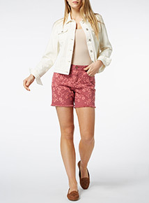 Red Embroidered Boy Shorts