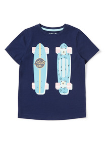 Navy Skateboard Print T-Shirt (3-14 years)
