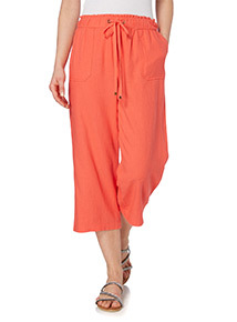 Coral Linen Cropped Trousers