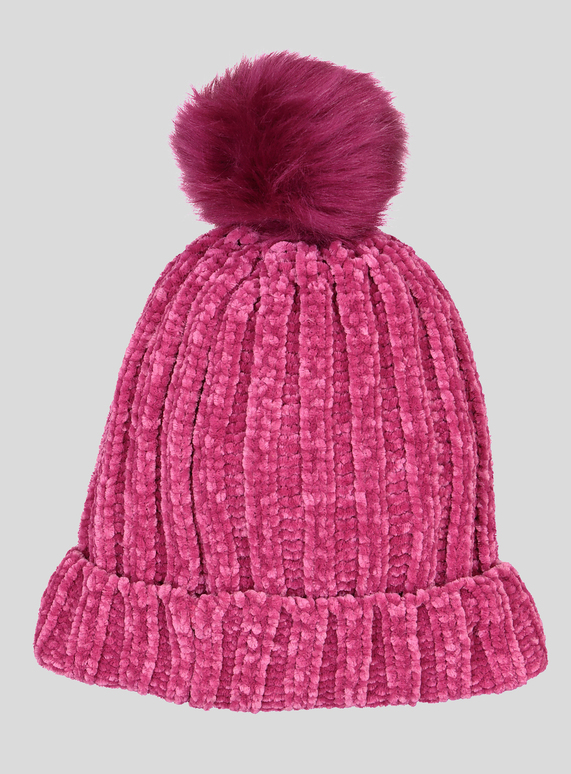 Kids Pink Chenille Pom-Pom Beanie Hat (3-13 years)  d4916a9a5d5