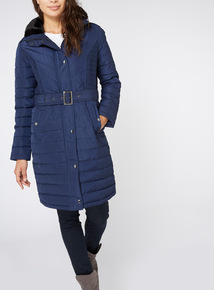 Navy Padded Longline Coat