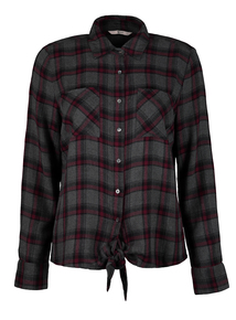 Grey Tie Front Check Shirt