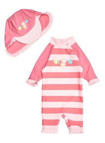 Pink Sunsafe And Hat Set (0 - 3 years)