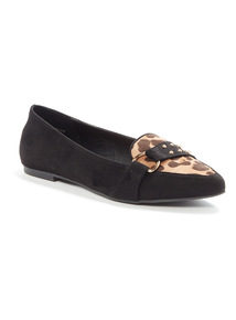 Black Leopard Slipper Cut Shoes