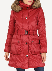 DAVID BARRY Red Padded 3/4 Coat