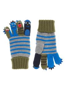Multicoloured Dino Explorer Finger Puppet Gloves (2-10 years)