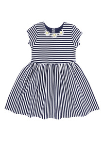 Girls Blue Stripe Skater Dress with Necklace