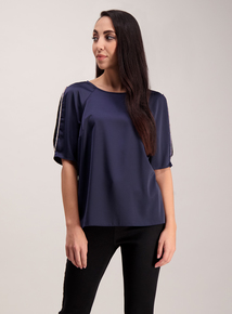 Navy Diamante Trim Cut Out Shoulder Top