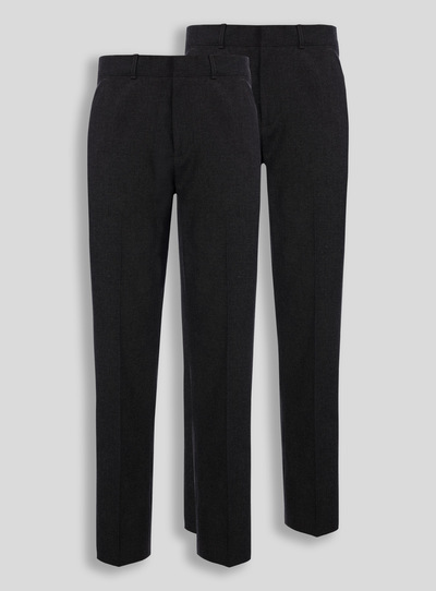 Online Exclusive Black Longer Leg Trousers 2 Pack (10-16 years)