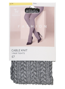 Grey Knitted Cable Tights