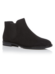 Black Chelsea Microsuede Ankle Boots