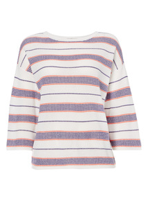 Multicoloured Sporty Mesh Stripe Jumper