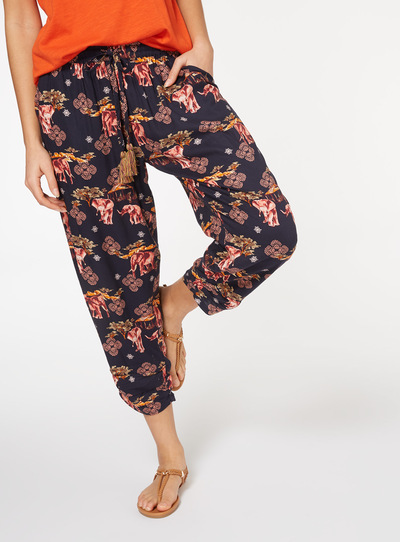 Elephant Print Cropped Trousers