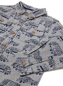 Grey Car All Over Print Shirt (3-14 years)