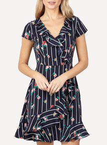 IZABEL Multi Navy Frill Hem Printed Wrap Dress