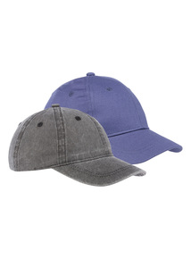 2 Pack Grey and Navy Washed Caps (1-16 years)