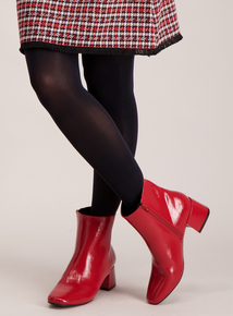 Red Patent Block Heel Ankle Boots