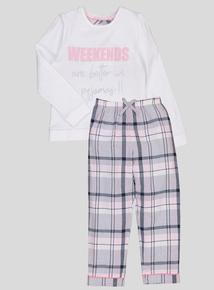 Cream 'Weekends Are Better' Pyjamas (4-14 years)