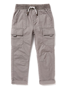 Grey Rib Waist Cargo Trousers (9 months-6 years)