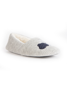 Grey & Navy Blue Cloud Embroidered Slipper
