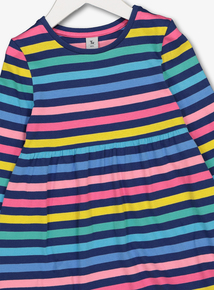 Multicoloured Rainbow Stripe Jersey Dress (9 months-6 years)