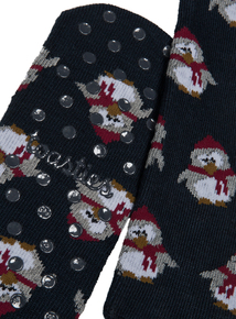 Christmas Toasties By Totes Navy Penguin Original Slipper Socks