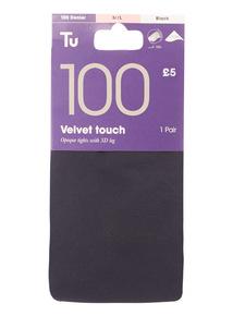 Black Velvet Touch Tights