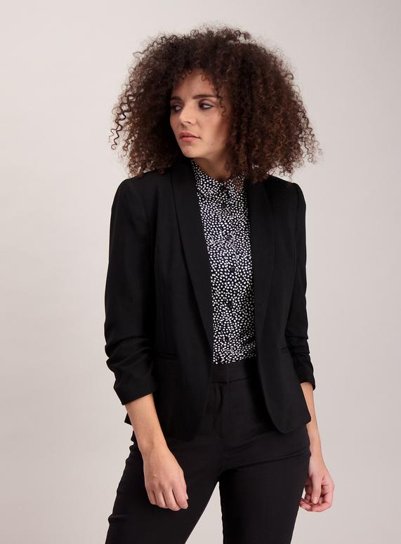 Womens Black Ruched Sleeve Blazer  bdd21da1c