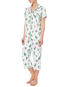 White Cactus Pattern Pyjama Set